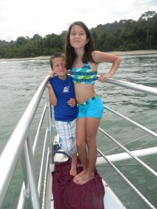 Kara and Tristan at the catamaran cruise--Manuel Antonio