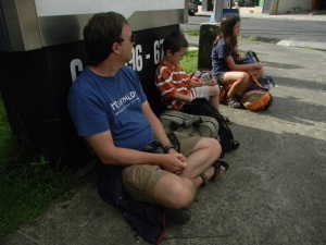 Chris, Tristan, and Kara waiting for our bus to San Jose in Quepos