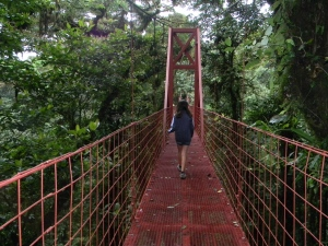 Walking through the suspension bridge at Monteverde Biological Reserve