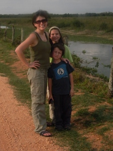 The kids and I on the road from Cuiaba to Southwild Pantanal Lodge.