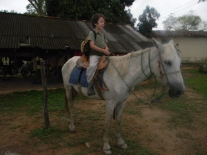 Tristan on a horse at Southwild Pantanal Lodge.