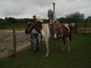 Kara on a horse at Southwild Pantanal Lodge.