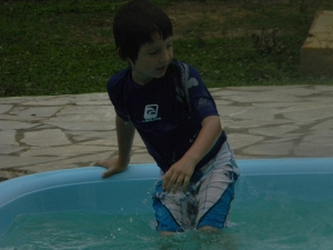 Tristan at the pool of Southwild Pantanal Lodge.