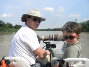 Chris and Tristan on the boat in Pantanal, Brazil.