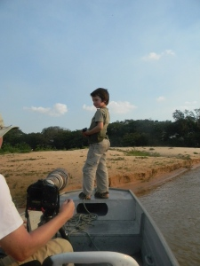 Tristan loved being on the front of the boat.