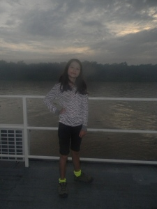 "Kara on the top deck of the Southwild Jaguar ""Flotel""."